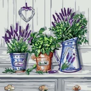 Фото Картины на холсте по номерам, Букеты, Цветы, Натюрморты Картина по номерам в коробке Идейка Красота прованса 40х40см (KH 2210)