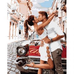 Фото Картины на холсте по номерам, Романтические картины. Люди Картина по номерам в коробке Идейка Страстный поцелуй 50х40см (KH 4718)