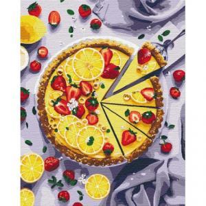 Фото Картины на холсте по номерам, Букеты, Цветы, Натюрморты Картина по номерам в коробке Идейка Лимонный пирог 50х40см (KH 5594)