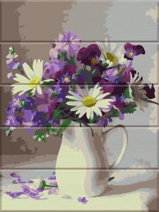 Фото  ASW 082 Цветы в кувшине Картина по номерам на дереве 30х40 см