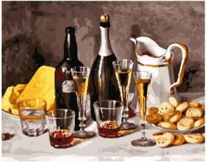 Фото Картины на холсте по номерам, Букеты, Цветы, Натюрморты Картина по номерам в коробке Paintboy Вино с фруктами 40х50см (KGX 25157)