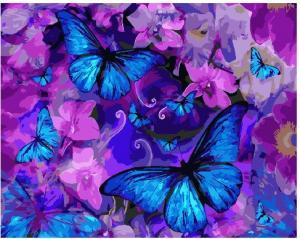 Фото Картины на холсте по номерам, Букеты, Цветы, Натюрморты Картина по номерам в коробке Paintboy Магические бабочки в цветах 40х50см (KGX 25148)