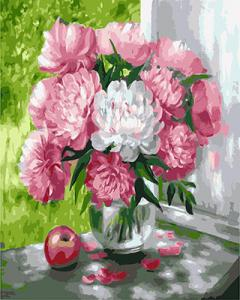 Фото Картины на холсте по номерам, Букеты, Цветы, Натюрморты Картина по номерам в коробке Paintboy Пионы на окне 40х50см (KGX 26465)