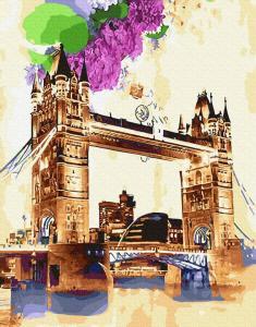 Фото Картины на холсте по номерам, Городской пейзаж Картина по номерам без коробки Paintboy Тауэрский мост акварелью 40х50см (GX 29116)