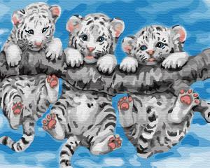 Фото Картины на холсте по номерам, Картины  в пакете (без коробки) 50х40см; 40х40см; 40х30см, Животные, птицы, рыбы GX 29308 Маленькие тигрята Картина по номерам на холсте 40х50см (без коробки)