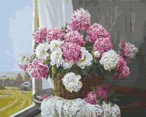 Фото Картины на холсте по номерам, Картины  в пакете (без коробки) 50х40см; 40х40см; 40х30см, Цветы, букеты, натюрморты Картина по номерам без коробки Paintboy Букет пионов у окна 40х50см (GX 29430)