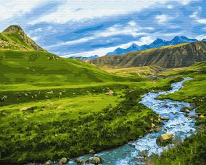 Фото Наборы для вышивания, Вышивка крестом с нанесенной схемой на конву, Пейзаж KGX 30094 Альпийский луг Картина по номерам на холсте 40х50см