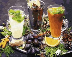 Фото Картины на холсте по номерам, Букеты, Цветы, Натюрморты Картина по номерам в коробке Paintboy Освежающие напитки 40х50см (KGX 34080)