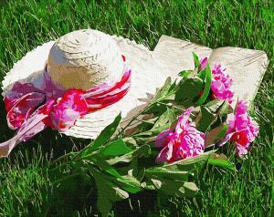 Фото Картины на холсте по номерам, Букеты, Цветы, Натюрморты Картина по номерам в коробке Paintboy Шляпа с пионами 40х50см (KGX 34091)