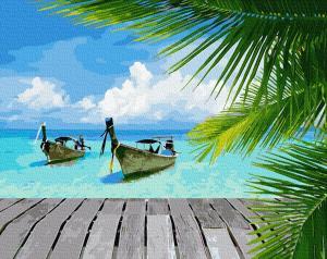 Фото Картины на холсте по номерам, Картины  в пакете (без коробки) 50х40см; 40х40см; 40х30см, Пейзаж, морской пейзаж. Картина по номерам без коробки Paintboy Райское побережье 40х50см (GX 34092)