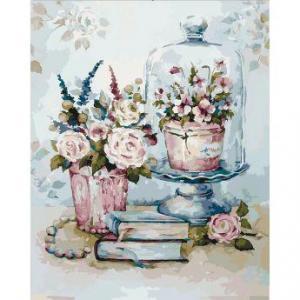 Фото Картины на холсте по номерам, Букеты, Цветы, Натюрморты Картина по номерам в коробке Идейка Бирюзовый натюрморт 2 40х50см (KH 2096)
