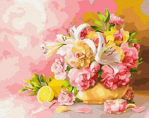 Фото Картины на холсте по номерам, Букеты, Цветы, Натюрморты Картина по номерам в коробке Paintboy Букет с лилиями 40х50см (KGX 28783)