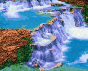Фото Картины на холсте по номерам, Картины  в пакете (без коробки) 50х40см; 40х40см; 40х30см, Пейзаж, морской пейзаж. Картина по номерам без коробки Paintboy Сказочный водопад 40х50см (GX 29460)
