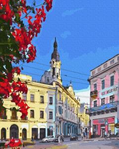 Фото Картины на холсте по номерам, Городской пейзаж Картина по номерам без коробки Paintboy Черновцы. Центральная площадь 40х50см (GX 36584)