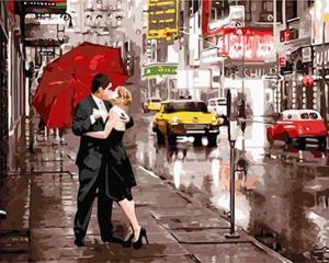 Фото Картины на холсте по номерам, Романтические картины. Люди Картина по номерам в коробке Paintboy Поцелуй под зонтом 40х50см (KGX 5003)