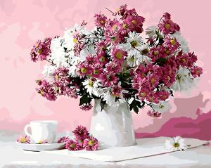 Фото Картины на холсте по номерам, Картины  в пакете (без коробки) 50х40см; 40х40см; 40х30см, Цветы, букеты, натюрморты Картина по номерам без коробки Paintboy Натюрморт в розовых тонах 40х50см (GX 8746)