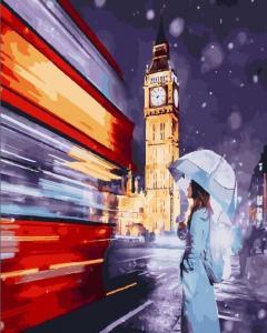 Фото Картины на холсте по номерам, Городской пейзаж Картина по номерам без коробки Paintboy Волшебство Лондона 40x50см (GX25444)