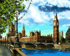 Фото Картины на холсте по номерам, Городской пейзаж Картина по номерам в коробке Paintboy Лондон  40х50см в коробке (KGX 3882)