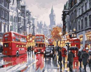 Фото Картины на холсте по номерам, Городской пейзаж Картина по номерам в коробке Paintboy Лондон. Автобусы ночного города 40х50см  (KGX 21871)