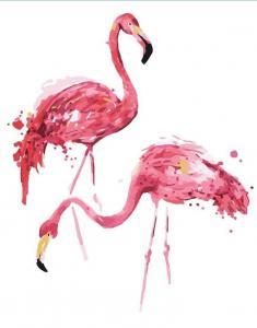 Фото Картины на холсте по номерам, Животные. Птицы. Рыбы... Картина по номерам в коробке  Paintboy Фламинго 40х50см (KGX 3771)
