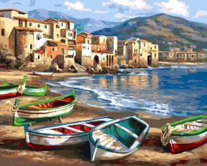 Фото Картины на холсте по номерам, Морской пейзаж Картина по номерам  Paintboy  Лодки на берегу KGX 4812 40х50см в коробке