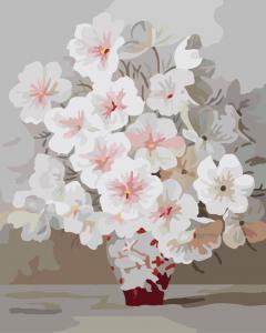 Фото Картины на холсте по номерам, Букеты, Цветы, Натюрморты Картина по номерам в коробке Paintboy Белоснежный букет 40х50см (KGX 7331)