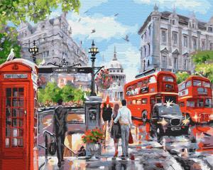 Фото Картины на холсте по номерам, Городской пейзаж Картина по номерам в коробке Paintboy  Лето в Лондоне 40х50см (KGХ 32733)