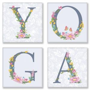 Фото Картины на холсте по номерам, Экспрессионизм, Модернизм, Абстракционизм, Авангард, Примитивизм и т.д. Картина по номерам в коробке Идейка Квартет Слово YOGA Прованс 18х18см (CH 116)
