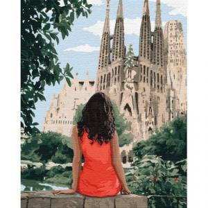 Фото Картины на холсте по номерам, Романтические картины. Люди Картина по номерам  в коробке Идейка Путешествуя Барселоной 40х50см (KH 4746)