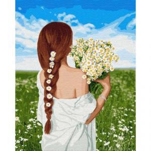 Фото Картины на холсте по номерам, Романтические картины. Люди Картина по номерам  в коробке Идейка Прекрасная украиночка 40х50см (KH 4747
