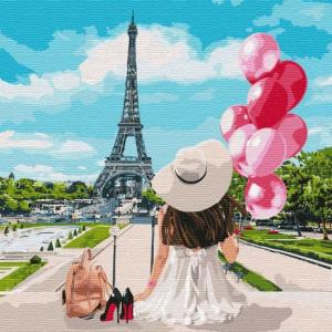 Фото Картины на холсте по номерам, Романтические картины. Люди Картина по номерам  в коробке Идейка Гуляя по улицам Парижа 40х40см (KH 4756)