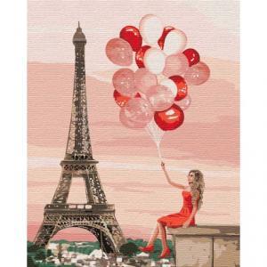 Фото Картины на холсте по номерам, Картины  в пакете (без коробки) 50х40см; 40х40см; 40х30см, Романтические картины. Люди. Картина по номерам без коробки Идейка Красные краски Парижа 40х50см (KHO 4757)