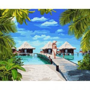 Фото Картины на холсте по номерам, Романтические картины. Люди Картина по номерам  в коробке Идейка Отдых на Мальдивах 40х50см (KH 4764)