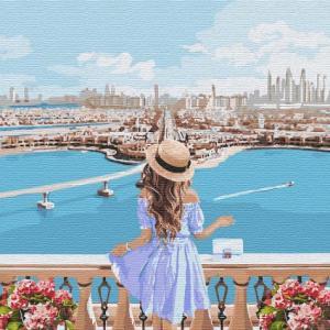 Фото Картины на холсте по номерам, Романтические картины. Люди Картина по номерам  в коробке Идейка Любуясь пейзажем 40х40см (KH 4768)