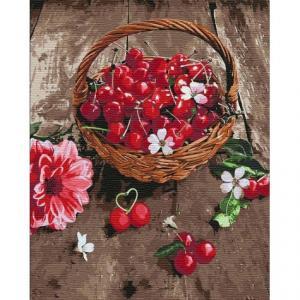 Фото Картины на холсте по номерам, Букеты, Цветы, Натюрморты Картина по номерам в коробке Идейка Вишневая радость 40х50см (KH 5597)
