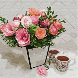 Фото Картины на холсте по номерам, Букеты, Цветы, Натюрморты Картина по номерам в коробке Идейка Ароматное чаепитие 40х40см (KH 3107)