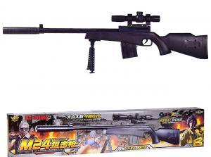 Фото Игрушечное Оружие, Стреляет пластиковыми 6мм  пульками, Винтовка, ружьё Детская  снайперская  винтовка  с2-х кратным оптическим прицелом и глушителем (6804)