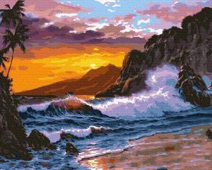 Фото Картины на холсте по номерам, Картины  в пакете (без коробки) 50х40см; 40х40см; 40х30см, Пейзаж, морской пейзаж. Картина по номерам без коробки Paintboy Бушующее море 40х50см (GX 36450)
