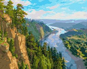 Фото Картины на холсте по номерам, Картины  в пакете (без коробки) 50х40см; 40х40см; 40х30см, Пейзаж, морской пейзаж. Картина по номерам без коробки Paintboy Северная река 40х50см (GX 37178)