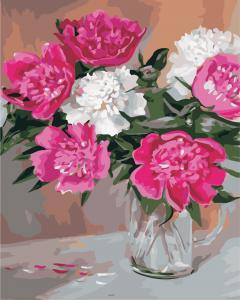 Фото Картины на холсте по номерам, Букеты, Цветы, Натюрморты Картина по номерам в коробке ArtStory Пионы в вазе 40x50см (AS 0838)