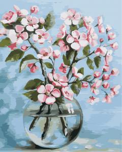 Фото Картины на холсте по номерам, Букеты, Цветы, Натюрморты Картина по номерам в коробке ArtStory Цветы сакуры 40x50см (AS 0844)