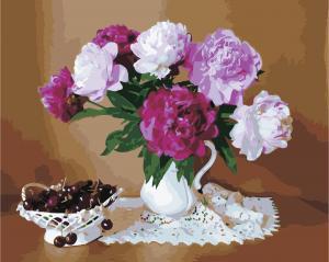 Фото Картины на холсте по номерам, Букеты, Цветы, Натюрморты Картина по номерам в коробке ArtStory Натюрморт с пионами 40x50см (AS 0846)