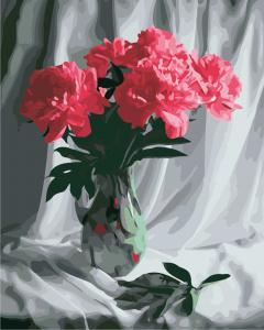 Фото Картины на холсте по номерам, Букеты, Цветы, Натюрморты Картина по номерам в коробке ArtStory Бархатные пионы 40x50см (AS 0849)