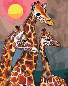 Фото Картины на холсте по номерам, Животные. Птицы. Рыбы... Картина по номерам в коробке ArtStory Семья жирафов 40x50см (AS 0869)