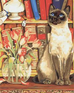 Фото Картины на холсте по номерам, Животные. Птицы. Рыбы... Картина по номерам в коробке ArtStory Кошка с тюльпанами 40x50см (AS 0881)