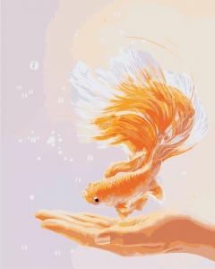Фото Картины на холсте по номерам, Животные. Птицы. Рыбы... Картина по номерам в коробке ArtStory Золотая рыбка 40x50см (AS 0887)