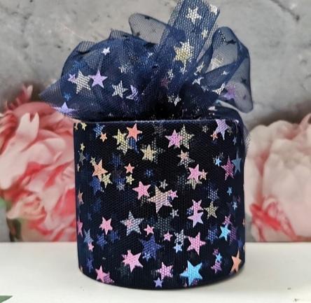 Фото Новинки Фатин тонкий , мягкий .  Тёмно - Синего   цвета , ширина 6 см.  в  цветных  блестящих  звёздочках .