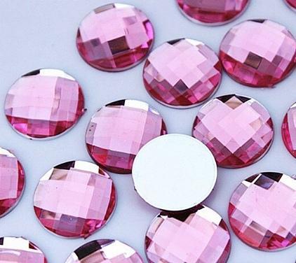 Фото Серединки ,кабашоны, Кабашоны, камеи Кабашон  круглый  16 мм.  стекло -  грань   Розового  цвета .