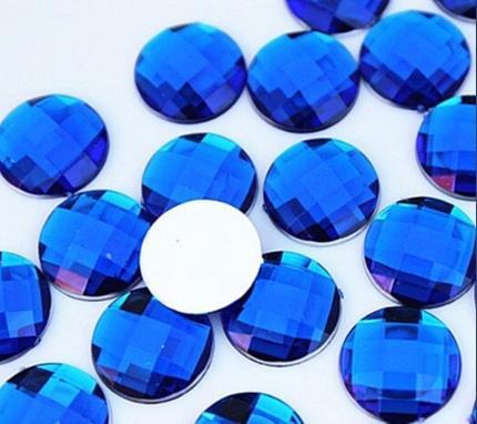Фото Новинки Кабашон круглый 16 мм. стекло - грань  Синего цвета .