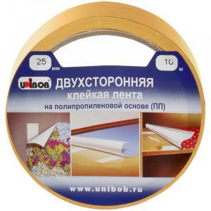 Фото Канцелярские товары (ЦЕНЫ БЕЗ НДС), Клейкая лента (Скотч)  Клейкая лента двусторонняя Unibob, 25мм*10м, полипропилен, инд. упаковка